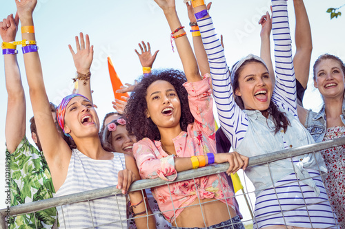 Happy hipsters listening to live music - 202882962