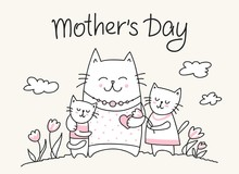 Happy Mothers Day Card With Cat Mom And Little Kitties. Flat Vector Mother`s Day Animal Illustration