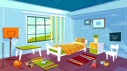 Child Room Vector Illustration Of Kid Boy Bedroom Interior Background.  Cartoon Flat Design Of Teen
