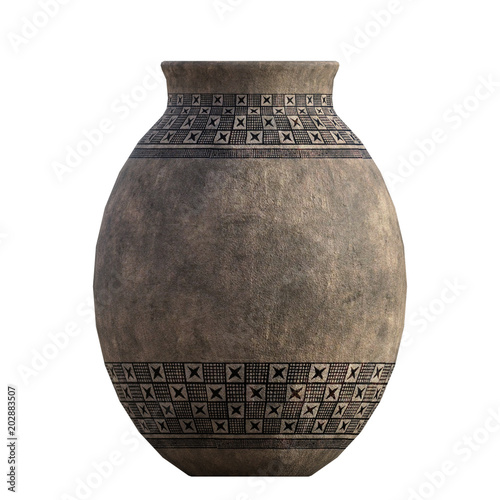 Old tribal vintage clay pot isolated on white, 3d render. Canvas Print