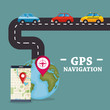 smartphone with gps navigation app vector illustration design