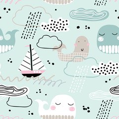 Childish seamless pattern with whale, boat, clouds and waves. Scandinavian style. Summer marina background. Perfect for fabric, textile. Vector background. Pastel colors