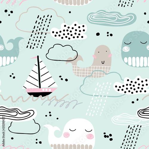 dziecinny-wzor-z-wielorybem-lodzia