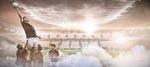 Digital Composite Image Of Stadium Against Rugby Players Jumping For Line Out