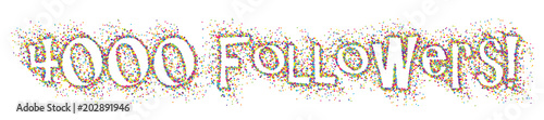 Fotografie, Obraz  4,000 FOLLOWERS colourful dots banner