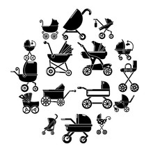 Baby Carriage Icons Set. Simpl...