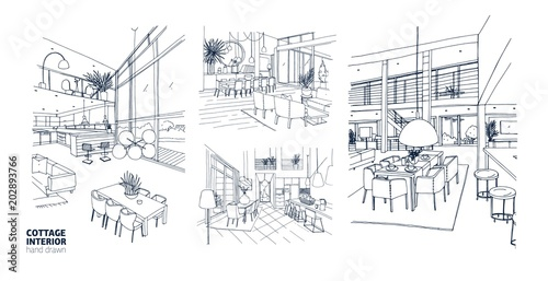 Foto auf AluDibond Gezeichnet Straßenkaffee Collection of monochrome drawings of summer cottage interiors full of stylish furniture. Bundle of house rooms hand drawn with black contour lines on white background. Realistic vector illustration.