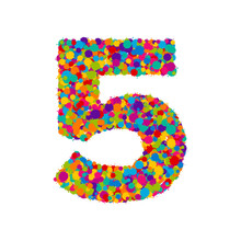 Vector Colorful Paint Splashes Font, Numeral 5