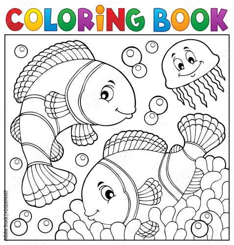 Door stickers For Kids Coloring book clownfish topic 3