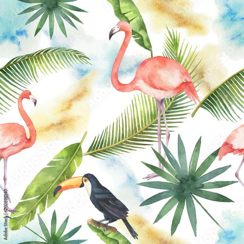 Akwarela bezszwowe wzór transparent tropikalny liści, Flamingo i Tukan na białym tle.