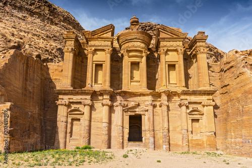Foto op Aluminium Oude gebouw Ancient tomb carved in the rock, Ed Deir (The Monastery) Petra, Jordan, Asia.