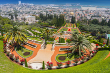 View Over The Bahai Gardens And Port In The Background In Haifa, Israel, Middle East.