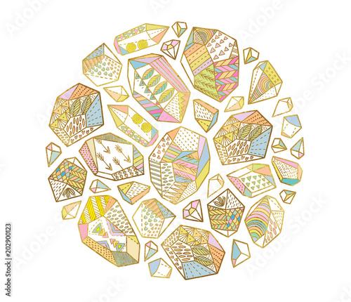 Foto auf AluDibond Boho-Stil Decorative golden minerals, crystals and gems in the circle