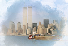 Digital Artwork Illustration Of The World Trade Center On February 1988