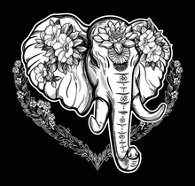 Decorative Vector Elephant With Flowers