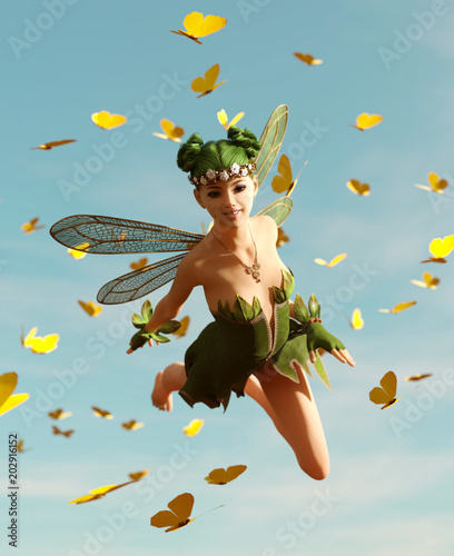 Plakaty do pokoju dziecka 3d-rendering-of-a-fairy-flying-on-the-sky-surrounded-by-flock-butterflies