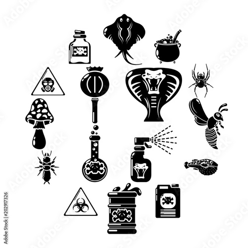 Fotografie, Obraz  Poison danger toxic icons set