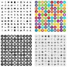 100 Seaside Resort Icons Set V...