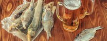 Dried Fish And Beer. Selective...
