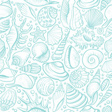 Seashells Vector Seamless Pattern. Blue Line Background.