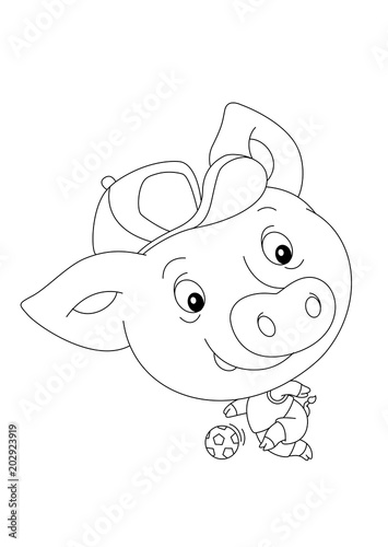 Garden Poster Fairytale World cartoon scene with happy funny and young pig playing football - on white background - coloring page - illustration for children