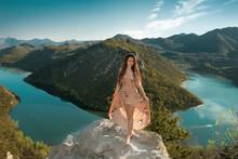 Brunette Girl Tourist In Dress...