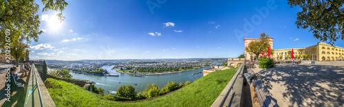 Foto  Koblenz, Blick von der Festung Ehrenbreitstein über Rhein, Mosel und die Stadt K