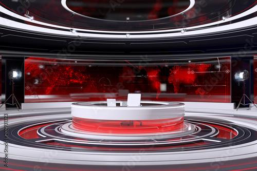 Fényképezés  Tv Studio Interior. 3d Illustration.