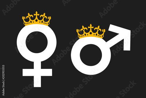 Queen And King As Monarch With Crown Symbol Of Monarchy