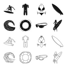 Oncoming Wave, Life Ring, Goggles, Girl Surfing. Surfing Set Collection Icons In Black,outline Style Vector Symbol Stock Illustration Web.