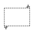 Illustration of a cut out coupon rectangle shape with scissors vector.
