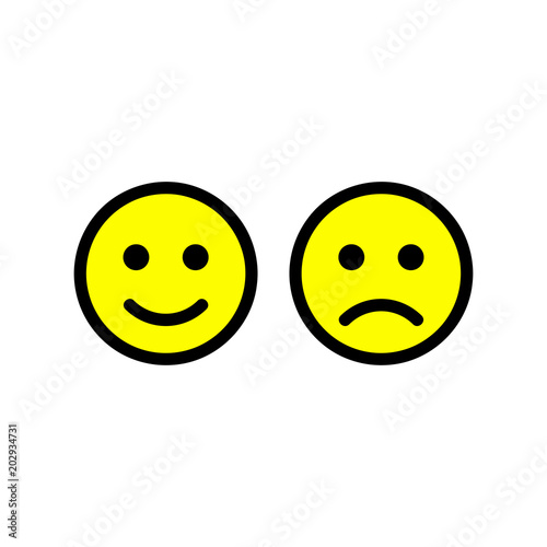 Happy And Sad Face Icons Smiley Face Symbols Flat Stile Vector