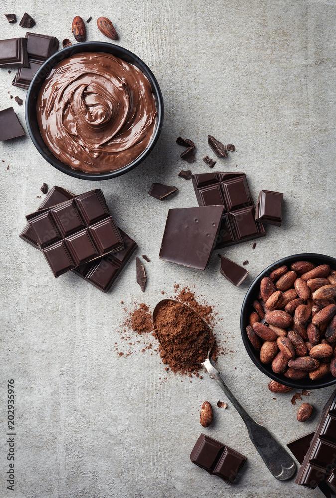 Fototapeta Dark chocolate, cacao powder and beans