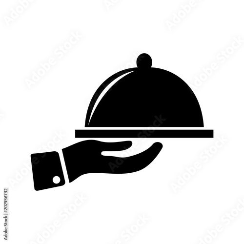 Fotografie, Obraz  Meal tray on hand icon simple cooking sign vector illustration