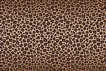 Dark Brown Leopard Fur Texture With Dark Border. Vector