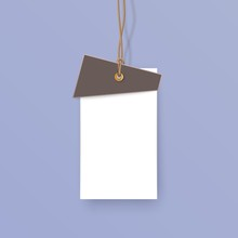 Tag Hanging On A String Realistic Object Isolated On Colored Background With Place For Text Vector Illustration