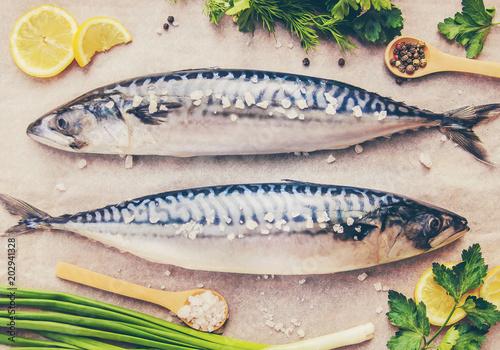 Foto op Plexiglas Vis raw fish of mackerel. Selective focus.