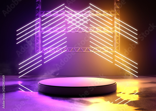 Glowing Neon Stage Background Canvas Print