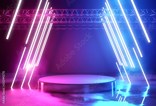 Fototapeta  Neon Lighting And Platform Stage
