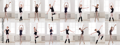 Fototapeta  Collage of young ballerina standing in ballet poses