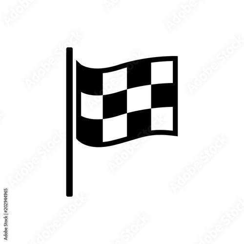 Checkered racing flag icon Canvas Print
