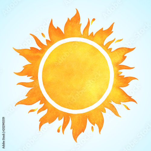 Obraz Watercolor vector sun with wavy tongues of fire, flame crown and sparks. Round aquarelle border, frame with space for text. Orange and yellow watercolour circle template. - fototapety do salonu