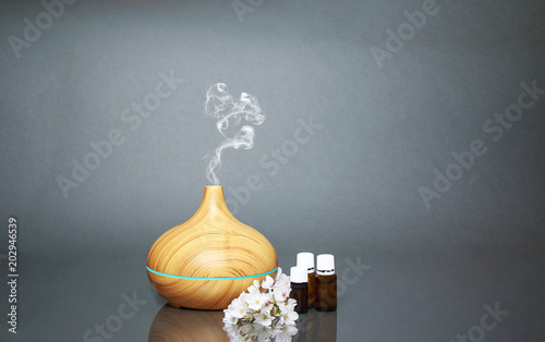 Fototapeta Electric Essential oils Aroma diffuser, oil bottles and flowers on gray surface with reflection obraz