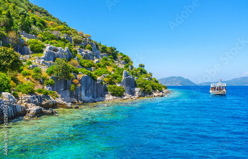 Aluminium Prints Turkey Explore sunken city on Kekova Island, Turkey