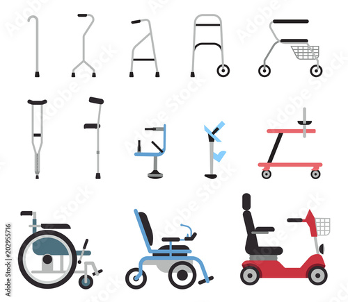 Foto Set of icons that represent orthopedic equipment, wheelchair,crutches and mobility aids