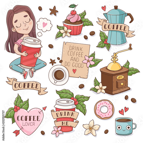 Tuinposter Vintage Poster Girl hugs a paper cup, chocolate cupcake, coffee maker, mug, mill letter and donut. Set of vector illustrations decorated with leaves and flowers, isoleted on white background