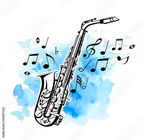 Saxophone on a blue watercolor background Tapéta, Fotótapéta