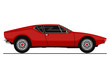 Vector sticker of vintage sports car. Side view. Flat vector.