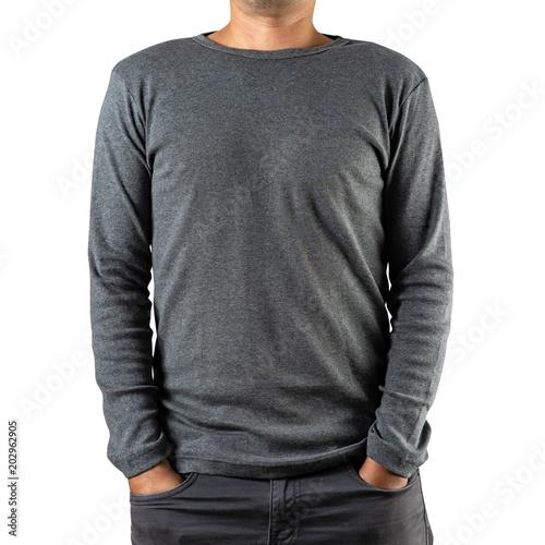 Fotografia  Studio shot of Man wearing blank gray long sleeves t-shirt