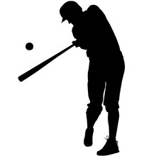 Baseball Player Silhouette, Ba...